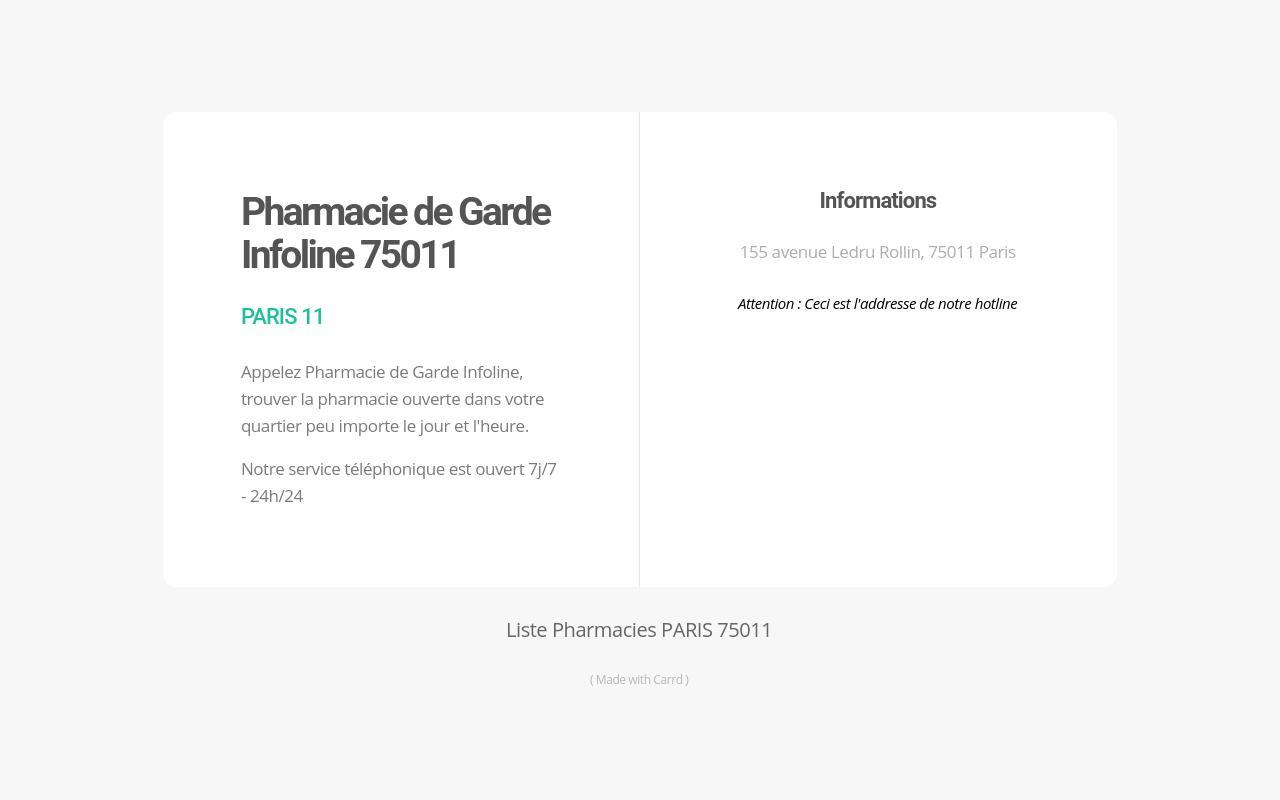 Pharmacie De Garde Infoline Paris 11